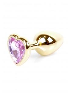 Jewellery Gold Heart Plug biżuteryjny korek analny z kryształem