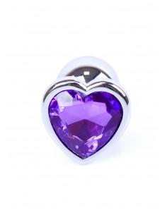 Jewellery Silver Heart Plug biżuteryjny korek analny z kryształem